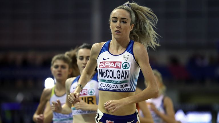 GLASGOW, SCOTLAND - MARCH 01:  Eilish McColgan of Great Britain in action during the women's 3000m final on day one of the 2019 European Athletics Indoor Championships at Emirates Arena on March 1, 2019 in Glasgow, Scotland.  (Photo by Bryn Lennon/Getty Images)