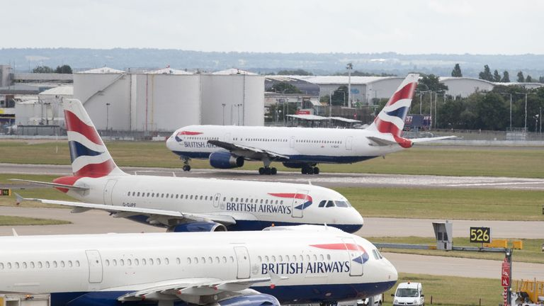 File photo dated 21/07/17 of British Airways aircraft at London's Heathrow airport, as the company has failed in a High Court bid to temporarily block pilots from taking strike action in a dispute over pay.