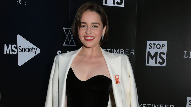 LONDON, ENGLAND  - MAY 16:  Emilia Clarke attends the SMS Battles Quiz for The MS Society, raising vital funds for Multiple Sclerosis research, at the Royal Horticultural Halls on May 16, 2019 in London, England.  (Photo by David M. Benett/Dave Benett/Getty Images for The MS Society)