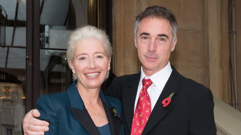 LONDON, ENGLAND - NOVEMBER 7: Actress Emma Thompson and her husband Greg Wise arrive at Buckingham Palace, London, where she will receive her damehood at an Investiture ceremony, on November 7, 2018 in London, England. Ms Thompson, 59, will collect the accolade in recognition of her services to drama. (Photo by Steve Parsons - WPA Pool/Getty Images)