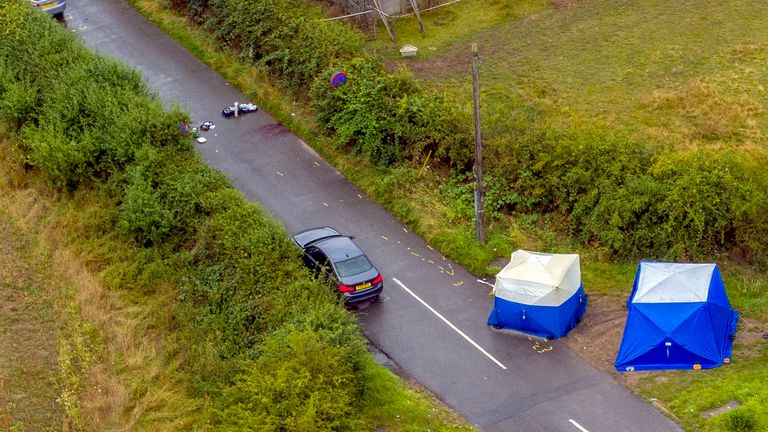 Aerial view of the scene at Ufton Lane, near Sulhamstead, Berkshire, where Pc Andrew Harper, a Thames Valley Police officer, was killed in the line of duty whilst attending a reported burglary on Thursday evening.