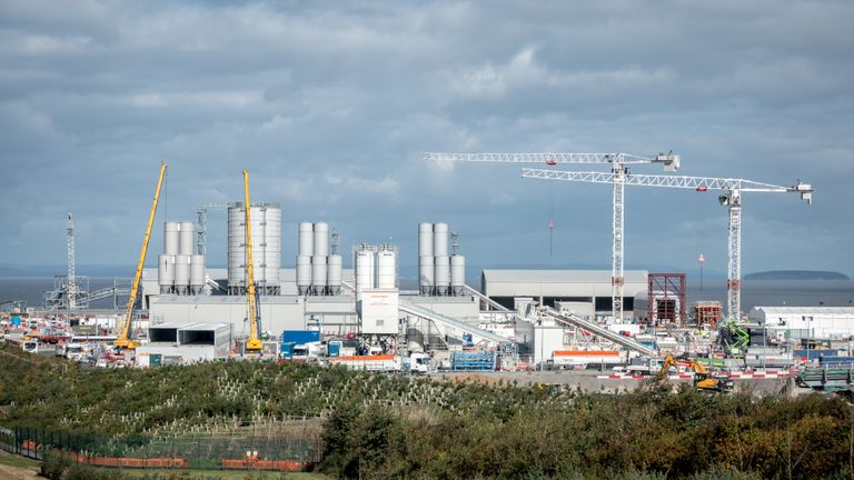BRIDGWATER, ENGLAND - OCTOBER 01: Construction continues at pace at the construction site of the Hinkley Point C nuclear power station being built near Bridgwater on October 1, 2018 in Somerset, England. According to the firm building the Somerset nuclear power station, it is firmly on track for its next major construction milestone. The construction of Hinkley Point C nuclear power station by EDF Energy began two years ago and it is expected to provide 7% of the UK's electricity needs for 60 years when it is switched on in 2025. More than 3,200 people are currently on site building the power station near Bridgwater, which will be Britain's first power plant in 20 years, and is being built adjacent to the existing Hinkley Point A and B nuclear power stations and the Bristol channel. (Photo by Matt Cardy/Getty Images)