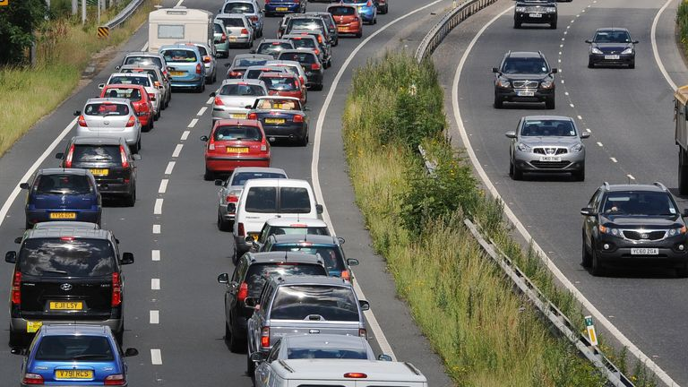 Traffic builds on the A64 Leeds to Scarborough road outside York as the summer holiday getaway begins.