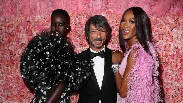 NEW YORK, NEW YORK - MAY 06: (EXCLUSIVE COVERAGE) Adut Akech, Pierpaolo Piccioli, and Naomi Campbell attends The 2019 Met Gala Celebrating Camp: Notes on Fashion at Metropolitan Museum of Art on May 06, 2019 in New York City. (Photo by Kevin Tachman/MG19/Getty Images for The Met Museum/Vogue)