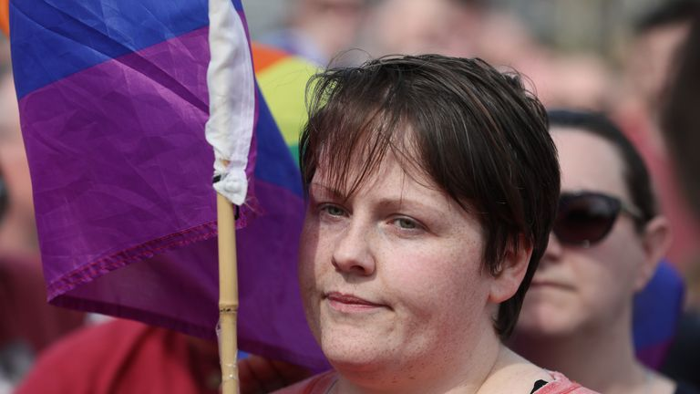 """Sara Canning, the partner of 29-year-old journalist Lyra McKee at a vigil in Londonderry, Northern Ireland, following her death last night after guns were fired and petrol bombs were thrown in what police are treating as a """"terrorist incident""""."""