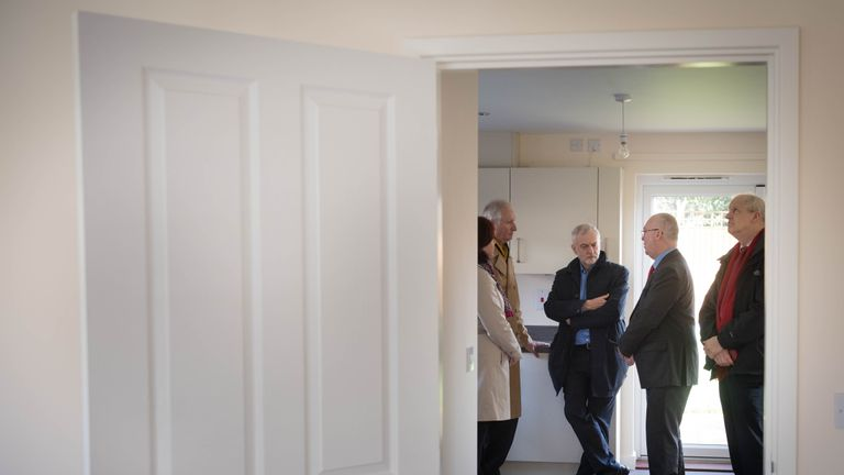 Labour leader Jeremy Corbyn (third left) visits a new council housing scheme with shared ownership in Cambridge, with council leaders including Kevin Price (second right), Labour's candidate for Cambridge mayor.