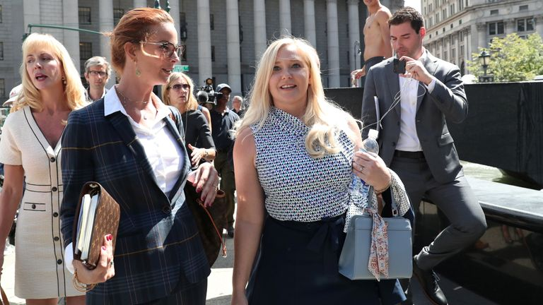 Virginia Giuffre, an alleged victim of Jeffrey Epstein, walks after the hearing in the criminal case against Epstein, who died this month in what a New York City medical examiner ruled a suicide, at Federal Court in New York, U.S., August 27, 2019. REUTERS/Shannon Stapleton