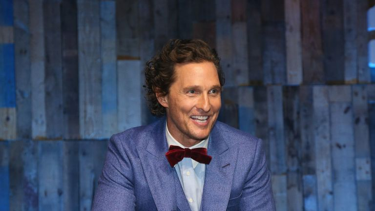 AUSTIN, TEXAS - APRIL 25:  Matthew McConaughey plays percussion on stage  during the MJ&M Charity Gala at ACL Live on April 25, 2019 in Austin, Texas.  (Photo by Gary Miller/Getty Images)