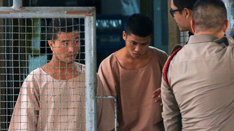 Myanmar migrant workers Zaw Lin and Win Zaw Htun arrive at the Nonthaburi provincial court in Thailand, August 29, 2019. REUTERS/Athit Perawongmetha