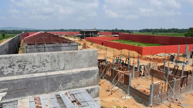 "This photo taken on August 29, 2019, shows an under-construction detention centre for people who are not included in a ""citizens register"" in Kadamtola Gopalpur village, in Goalpara district, some 170km from Guwahati, the capital city of Indias northeastern state of Assam. - Security was tightened in the Indian state of Assam on August 30 before the release of a ""citizens register"" expected to leave millions deemed as ""foreign infiltrators"" facing detention camps and even deportation. (Photo by Biju BORO / AFP)        (Photo credit should read BIJU BORO/AFP/Getty Images)"