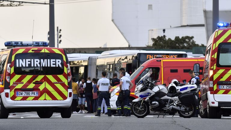 Emergency services are at work in Villeurbanne on the outskirts of Lyon, south-eastern France on August 31, 2019, after a knife attack which has left one dead and six injured. - Two men, one armed with a knife and the other with a skewer, carried out the attack in Villeurbanne in southeastern France, the official said, without giving further details on the motive for the stabbing. (Photo by PHILIPPE DESMAZES / AFP)        (Photo credit should read PHILIPPE DESMAZES/AFP/Getty Images)