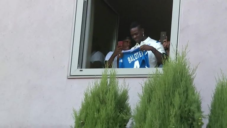 Balotelli was met by gathering Brescia fans as he returned to his hometown club