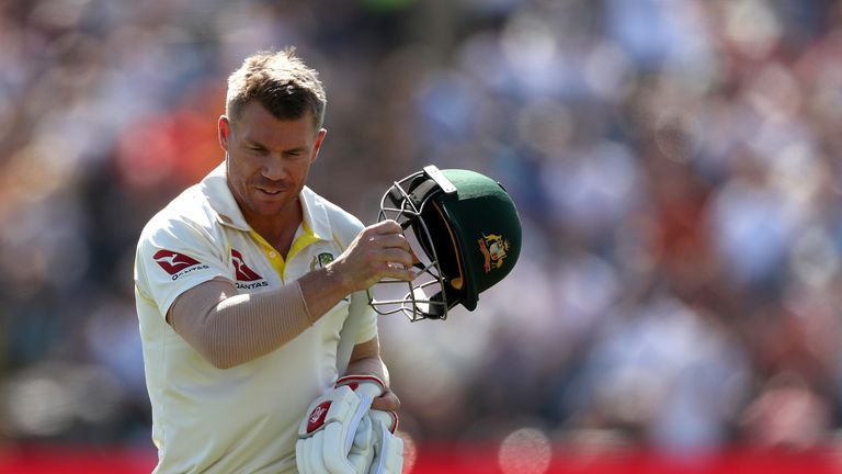 Australia's David Warner is bowled out LBW by England's Stuart Broad