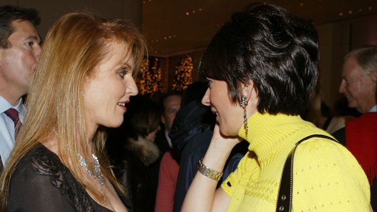 Sarah Ferguson with Ghislane Maxwell at the Opening of the Asprey flagship store on 5th Avenue in New York City on 8 December 2003