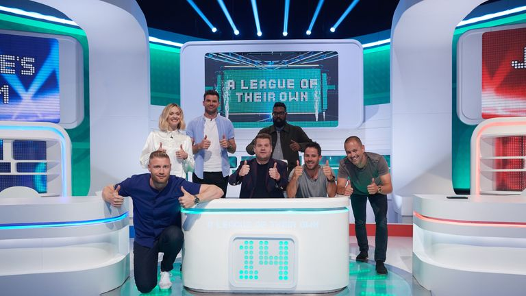 A League Of Their Own series 14 is hosted by James Corden and a series of guests hosts, with Jamie Redknapp, Romesh Ranganathan, and Freddie Flintoff representing the Red and Blue teams. Pic: ©Sky UK Ltd