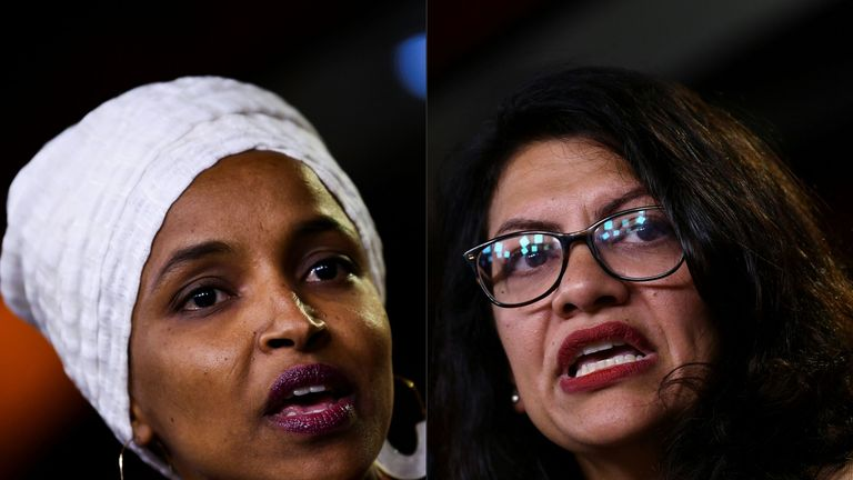 (COMBO) This combination of pictures created on August 15, 2019 shows Democrat US Representatives Ilhan Abdullahi Omar (L) and Rashida Tlaib during a press conference, to address remarks made by US President Donald Trump earlier in the day, at the US Capitol in Washington, DC on July 15, 2019. -