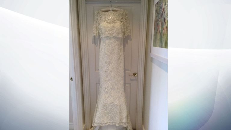 The wedding dress which was bought for Carolyn Woods but never used