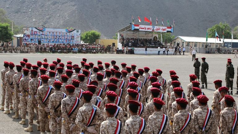 Newly recruited troopers take part in a graduation parade in Aden, Yemen August 1, 2019. REUTERS/Fawaz Salman