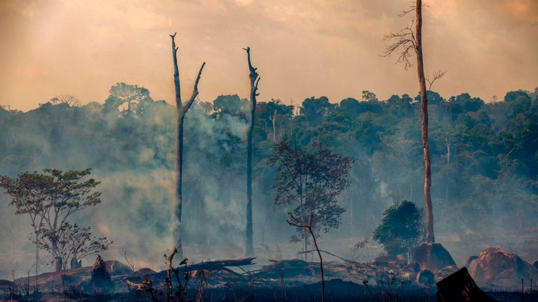 Smokes rises from forest fires in Altamira, Para state, Brazil, in the Amazon basin, on August 27, 2019. - Brazil will accept foreign aid to help fight fires in the Amazon rainforest on the condition the Latin American country controls the money, the president's spokesman said Tuesday