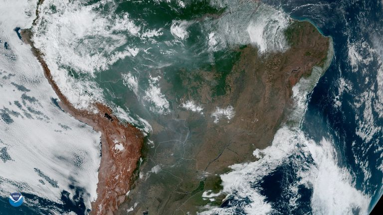Fires burning the Amazon rainforest can be seen from space
