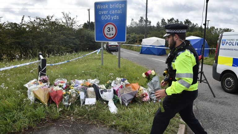 "Messages on floral tributes at the scene, where Thames Valley Police officer Pc Andrew Harper, 28, died following a ""serious incident"" at about 11.30pm on Thursday near the A4 Bath Road, between Reading and Newbury, at the village of Sulhamstead in Berkshire. PRESS ASSOCIATION Photo. Picture date: Saturday August 17, 2019. Thames Valley Police said 10 boys and men aged between 13 and 30 have been arrested on suspicion of murder and are in custody at various police stations in the force area. See"