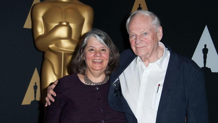 Animator Richard Williams with his wife producer Imogen Sutton at the Oscars in 2016