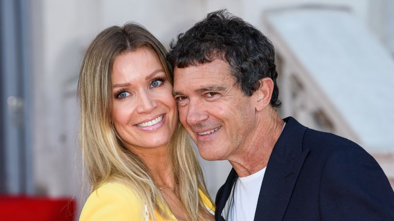 "Nicole Kimpel and Antonio Banderas attend the ""Pain And Glory"" UK Premiere and opening gala of Film4 Summer Screen at Somerset House on August 08, 2019 in London"