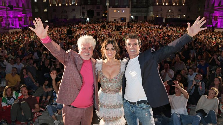 Pedro Almodovar, Penelope Cruz and Antonio Banderas attend the opening night of Film4 Summer Screen at Somerset House featuring the UK Premiere of  Pain And Glory on August 8, 2019