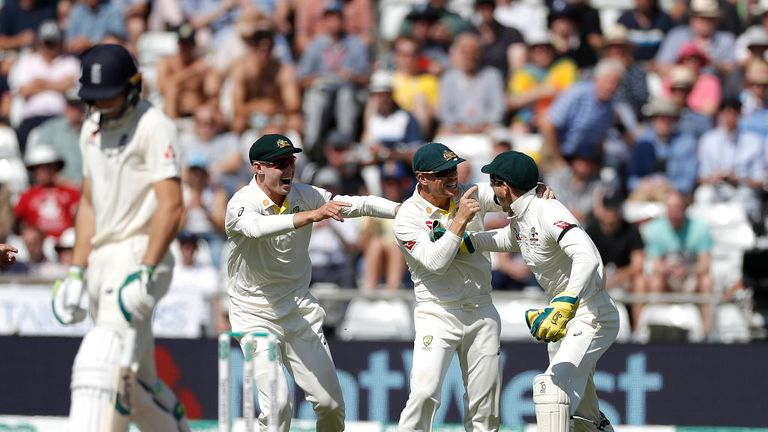 Jos Buttler was out for five as the Aussies devastated England's batting attack