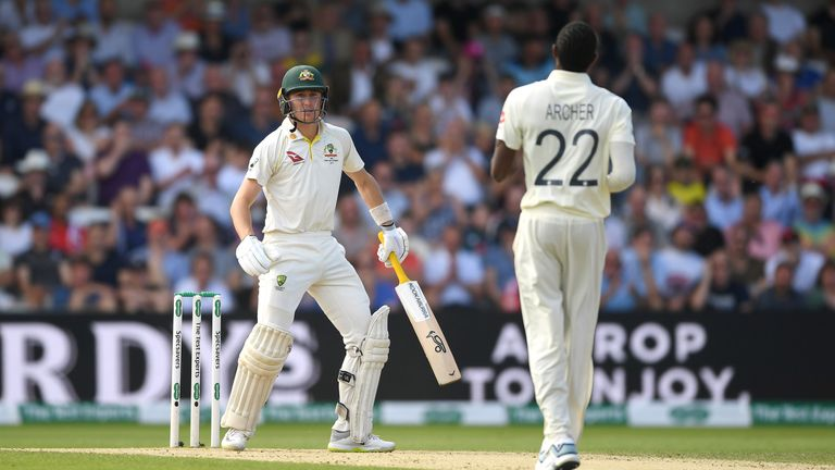 Marnus Labuschagne of Australia faces up to Jofra Archer of England after being hit by a short ball during day three of the 3rd Specsavers Ashes Test match between England and Australia at Headingley on August 24, 2019 in Leeds