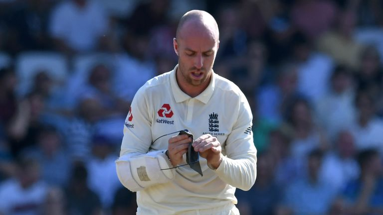 England's Jack Leach cleans his glasses during his match-winning last-wicket partnership with Ben Stokes