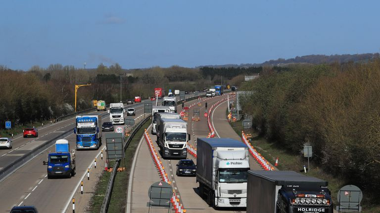 A view of the M20 motorway near Ashford in Kent, as one side of the main motorway to the Port of Dover closes for Operation Brock