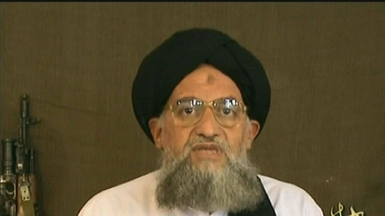 An image grab taken from a video broadcast on Al--Jazeera television 20 December 2006 shows Al-Qaeda number two Ayman al-Zawahiri saying that only jihad, not elections, can bring about the liberation of occupied Palestinian territory. Osama bin Laden's right-hand man slammed Hamas, without naming it, for recognizing Palestinian president Mahmud Abbas and taking part in elections on the basis of a secular constitution. The turbaned Egyptian-born Zawahiri frequently speaks for Al-Qaeda in video or