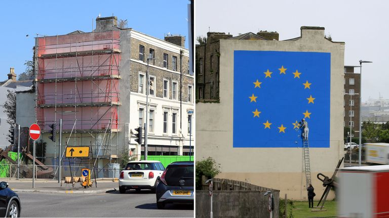 File photo dated 08/05/17 of a mural by artist Banksy of a workman removing a star from the EU flag which appeared on the 7th May 2017 near the ferry terminal in Dover, Kent. The mural has been mysteriously covered up with white paint and scaffolding and it is currently unclear whether the artwork has been painted over or removed for preservation or sale. PRESS ASSOCIATION Photo. Issue date: Monday August 26, 2019. See PA story ARTS Banksy. Photo credit should read: Gareth Fuller/PA Wire
