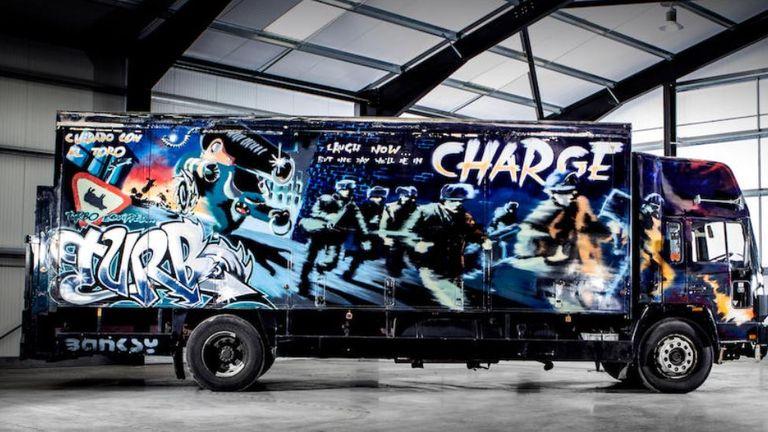 Banksy truck. Pic Bonhams
