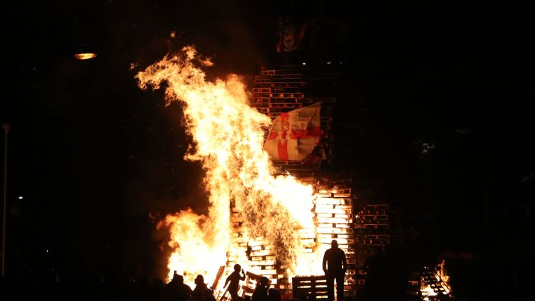 The bonfire marked the anniversary of the introduction of the controversial policy of internment without trial