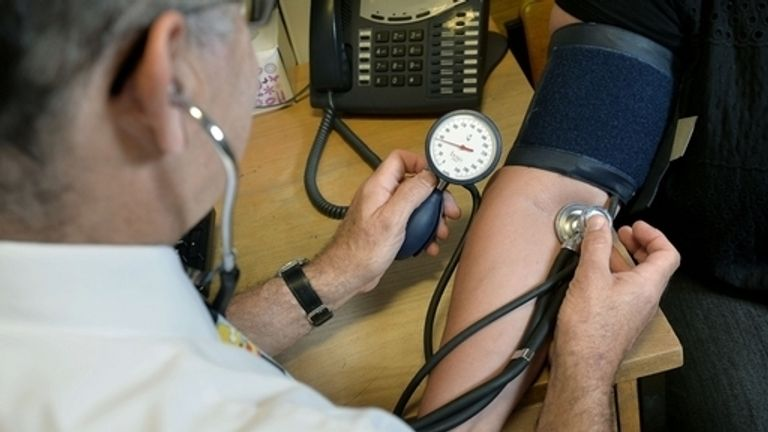 Blood pressure monitoring as part of cardiovascular disease checks. File pic