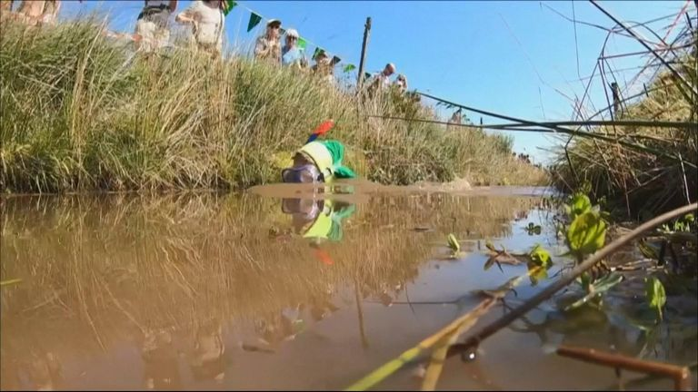 Brave swimmers took the plunge into the murky, stinky waters of the Waen Rhydd peat bog to compete in the World Bog Snorkelling Championships in Wales.