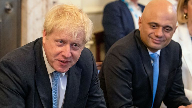 Sajid Javid (centre) and Amber Rudd with Prime Minister Boris Johnson (left) as he holds his first Cabinet meeting at Downing Street in London.