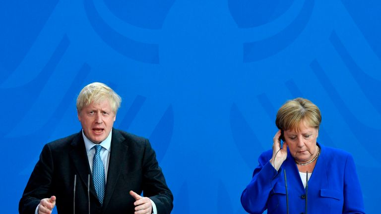 Boris Johnson holds a joint press conference with Angela Merkel