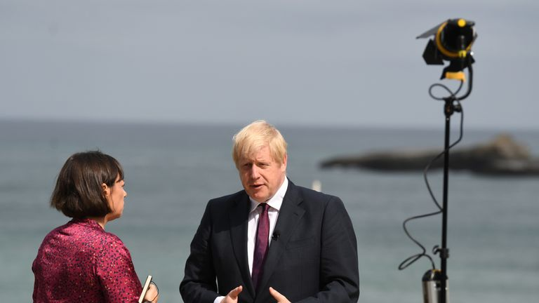 Boris Johnson speaks to Sky News' Beth Rigby at G7 summit