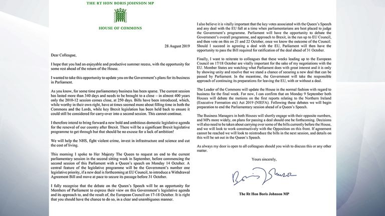 Dear Colleague letter from Boris Johnson