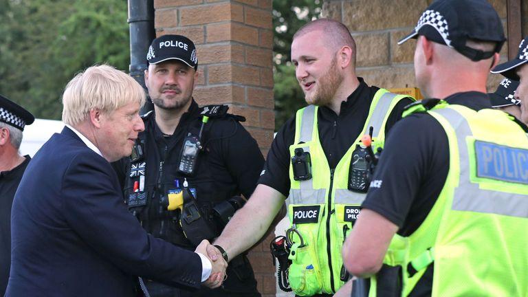 Boris Johnson meets police at Whaley Bridge Football Club