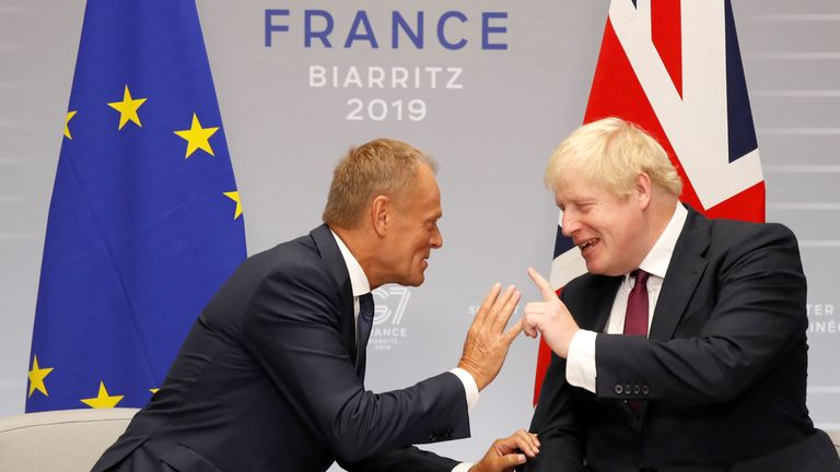 Donald Tusk and Boris Johnson appear comfortable during bilateral talks