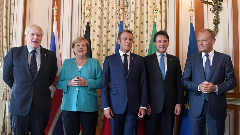 Boris Johnson and other European leaders at the EU meeting during the G7 summit in Biarritz