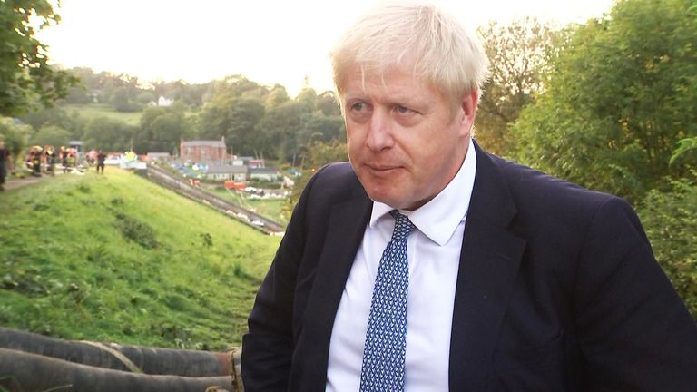 Boris Johnson MP visiting Whaley Bridge.