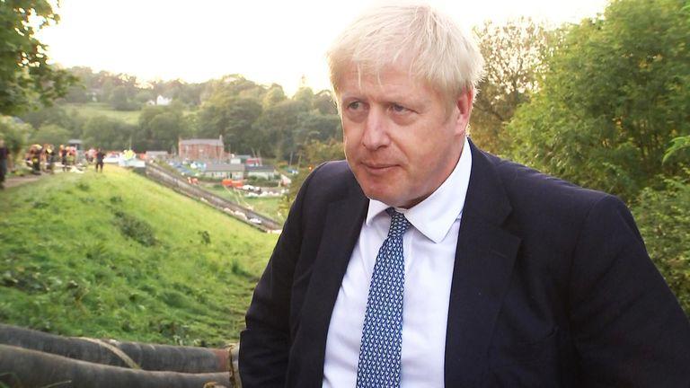 Boris Johnson MP visiting Whaley Bridge.