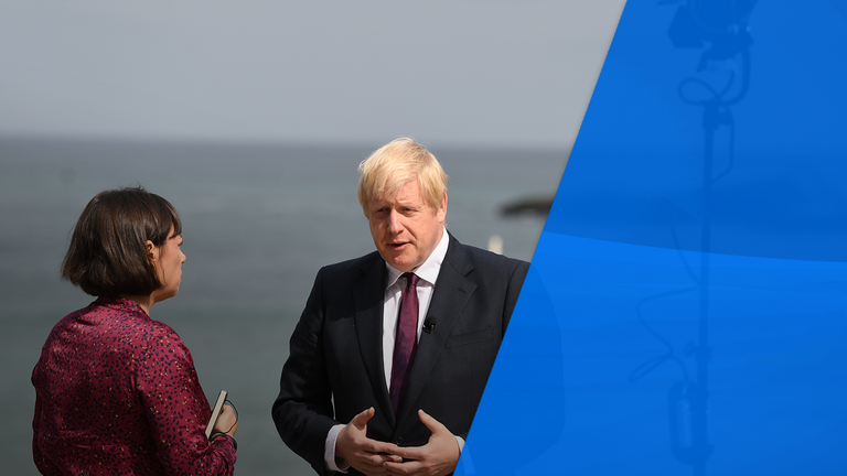 Mr Johnson gave Sky News an interview at the G7