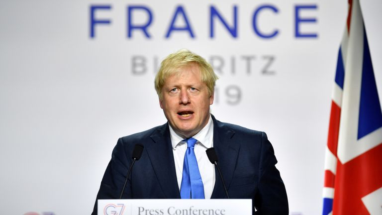 G7-SUMMIT/RTS2NYQM26 Aug. 2019Biarritz, FranceBritain's Prime Minister Boris Johnson speaks during a news conference at the end of the G7 summit in Biarritz, France, August 26, 2019. REUTERS/Dylan Martinez