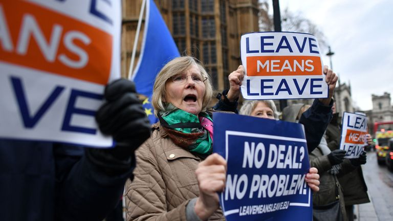 Pro-Brexit demonstrators protest opposite the Houses of Parliament in London on December 5, 2018. - British Prime Minister Theresa May returns to the House of Commons today after a series of stunning defeats by MPs that threaten her government and could change the course of Brexit. (Photo by Ben STANSALL / AFP)        (Photo credit should read BEN STANSALL/AFP/Getty Images)